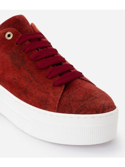 Suede Map Sneakers in pelle scamosciata Rosse
