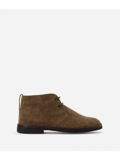 Boots in suede leather Taupe