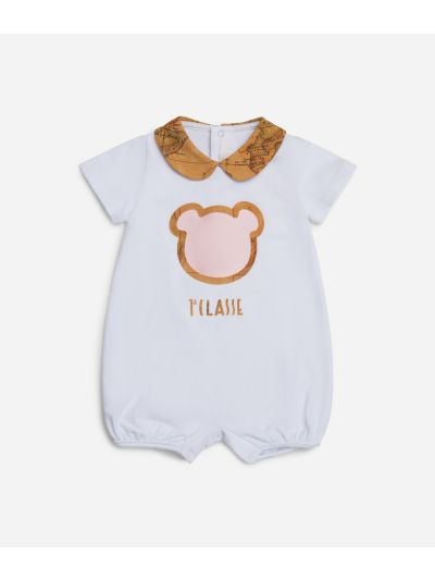 Baby girl romper with pink teddy bear