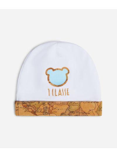 Baby boy hat with light blue teddy bear