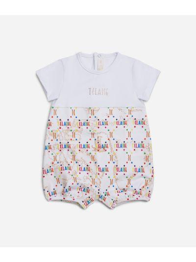 Baby romper in Geo Beige and multicolor logo