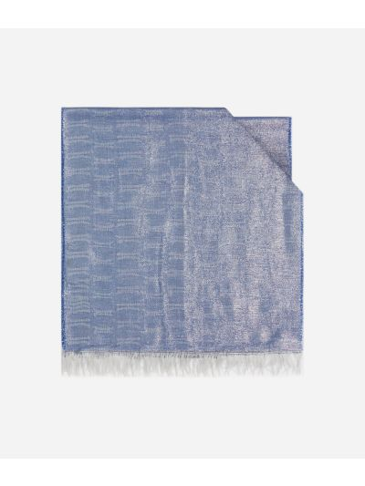 Scarf with 1C Lurex print 40 x 185 Blue