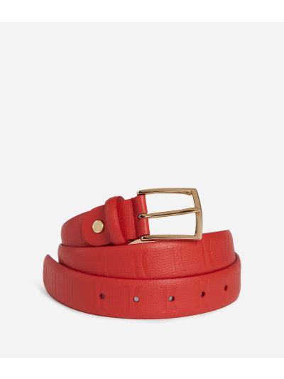 Nappa Monogram Belt in leather with 1C impression Red