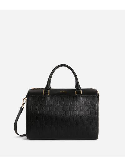 Nappa Monogram Boston bag in leather with 1C impression Black