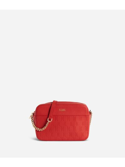Nappa Monogram Crossbody bag in leather with 1C impression Red