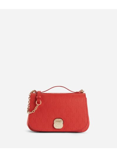 Lady Bag Crossbody bag in grainy cowhide leather with 1C impression Red