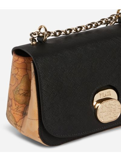 Lady Bag Small Crossbody bag  in embossed saffiano print fabric Black