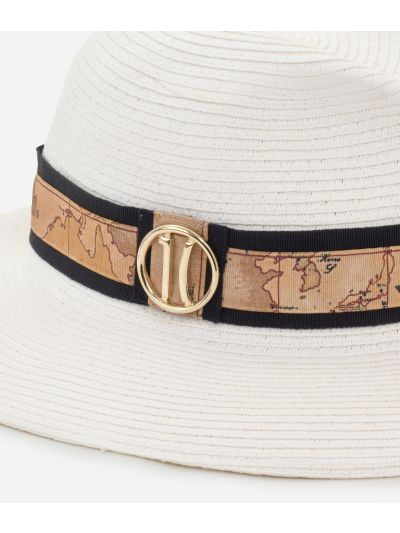 Stitched braid hat with Geo Classic detail White