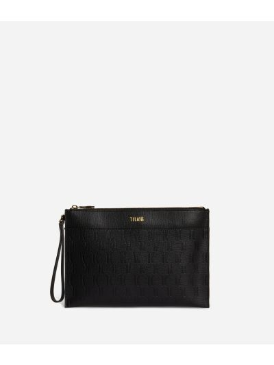 Nappa Monogram Clutcht in leather with 1C impression Black