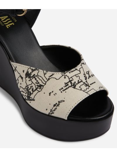 Geo Écru Sandals with wedge in linen and black leather