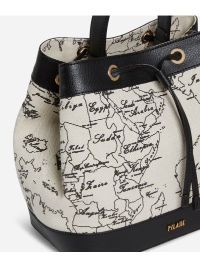 Geo Écru Bucket Bag in linen and black leather