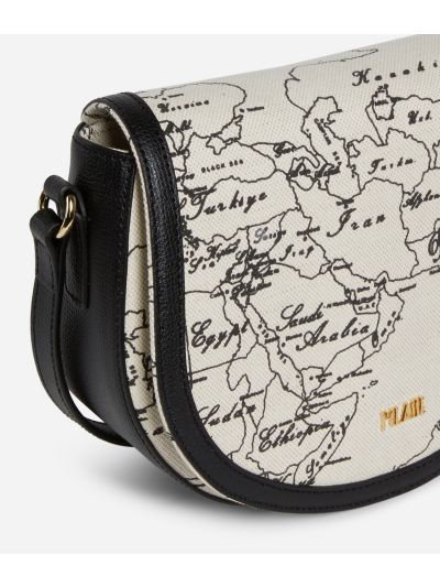 Geo Écru Crossbody Bag in linen and black leather