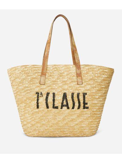 Pool Party Raffia shopping bag with maxi logo 1a Classe Black