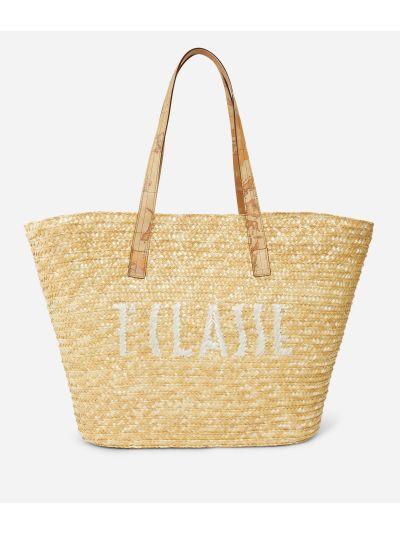 Pool Party Raffia shopping bag with maxi logo 1a Classe White