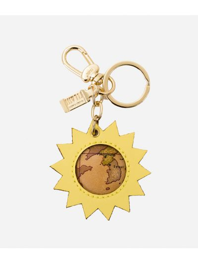 Charm-Keyholder Sun in leather and Geo tassel Light Yellow