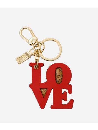 Charm-Keyholder Love in leather and Geo tassel Coral Red