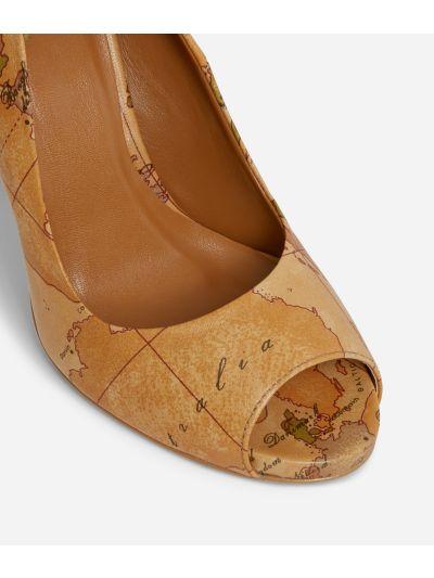 Peep toe sandals in Geo Classic print nappa
