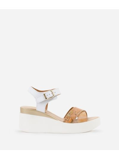 Sandals with crossed bands in smooth leather White
