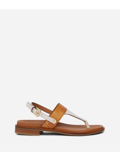 Thong sandals in smooth leather White