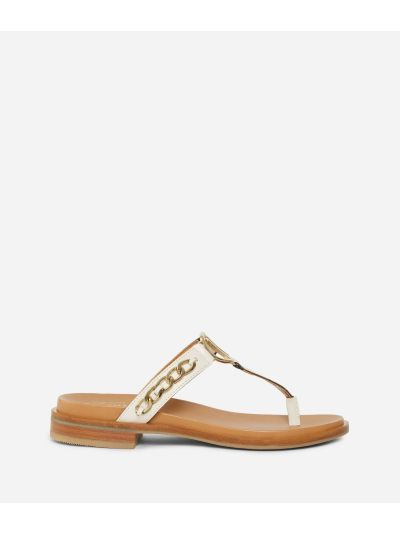 Thong sandals in smooth leather with chain detail White