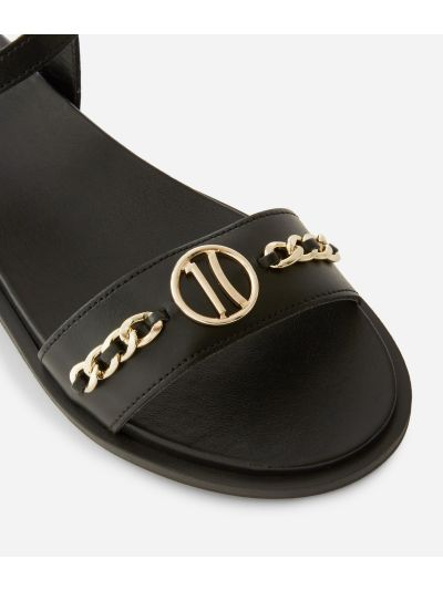 Sandals with maxi logo 1C in smooth leather with chain detail Black