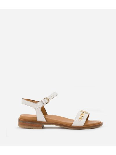 Sandals with maxi logo 1C in smooth leather with chain detail White