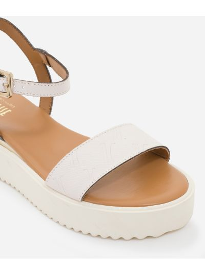 Sandals in leather with 1C impression White