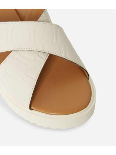 Sliders in leather with 1C impression White