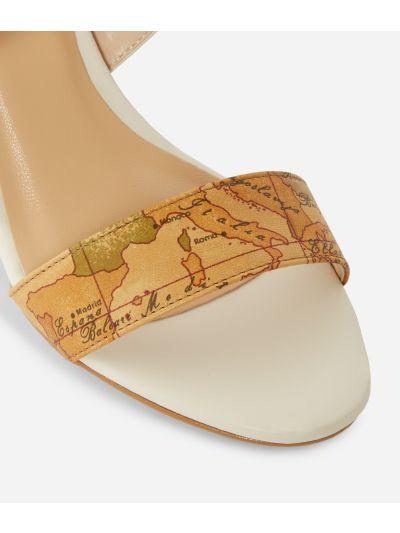 Sandali maxi logo 1C in pelle liscia Bianchi