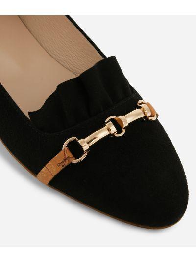 Online Exclusive Ballet flats with horsebit in suede leather Black