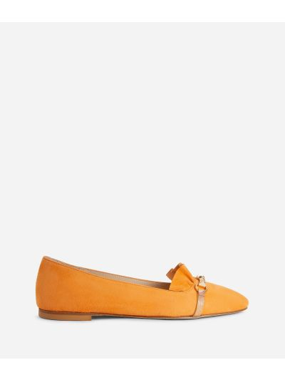Online Exclusive Ballet flats with horsebit in suede leather Red