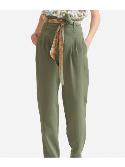 Trousers with belt in linen blend Green