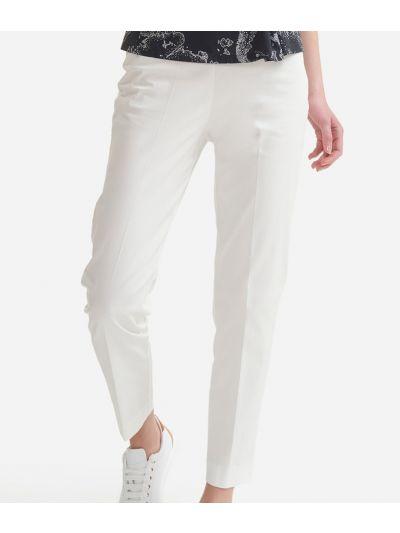 Cigarette trousers in stretch cotton gabardine White