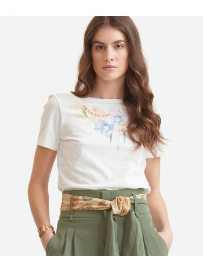 T-shirt with flower print in jersey cotton White