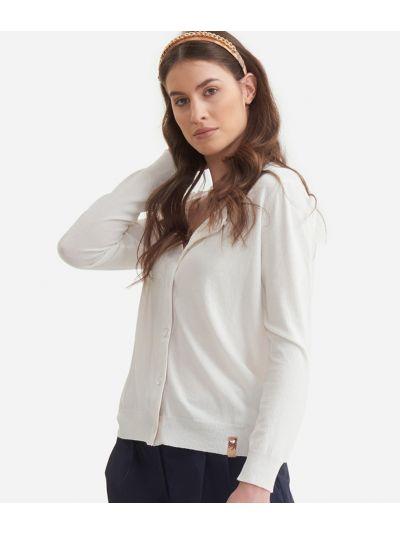 Cardigan in viscose stretch White