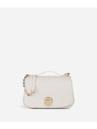 Lady Bag Crossbody bag in grainy cowhide leather with 1C impression White