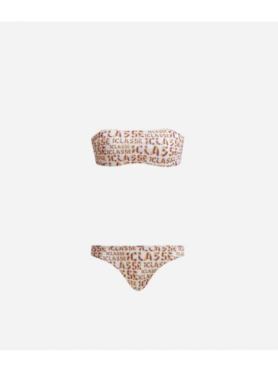 Logo Power Bikini padded bandeau top and briefs all-over 1a Classe logo print White