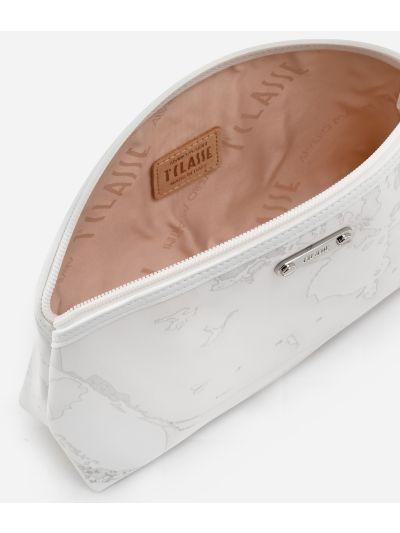 Beauty case medio in tessuto gommato bianco