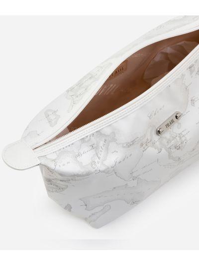 Beauty case a trapezio in tessuto gommato bianco