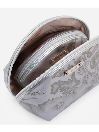 Set 3 pochette da viaggio in tessuto gommato grigio perla